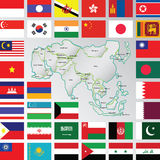 Asia. Illustration of asia map and flags  art Stock Photo
