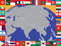 Asia. Frame of Asian countries flags around the globe vector illustration Royalty Free Stock Images