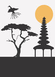 Asia. A  illustration of an asiatic building and a tree Stock Images