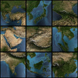 Asia 3d map set. Asia map set. 3d landscape, shadows, transparent water. Earth map courtesy NASA vector illustration