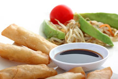 Asia. Spring rolls with soy sauce and a salad Royalty Free Stock Photo