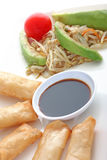 Asia. Spring rolls with soy sauce and a salad Royalty Free Stock Images