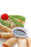 Asia. Spring rolls with soy sauce and a salad Stock Images