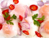 Asia-Asian eating food, Thai food, Yum  boil eggs, close up. Royalty Free Stock Photo