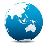 Asia and Australia, Global World, Planet Earth Icon. Asia and Australia, Vector Map Icon of the World Globe symbol Stock Images