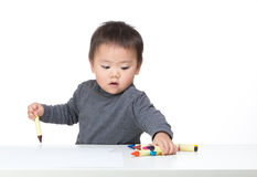 Asia baby boy drawing Stock Images