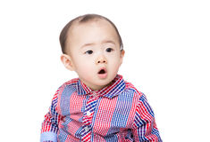 Asia baby boy feel surprise Royalty Free Stock Photos
