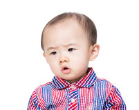 Asia baby boy feeling worries Royalty Free Stock Photos