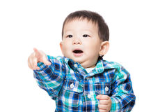 Asia baby boy finger pointing front Stock Photos