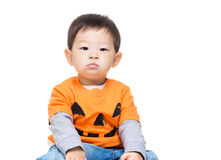 Asia baby boy with halloween dressing Royalty Free Stock Photos