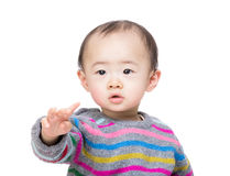 Asia baby boy with hand pointing front Stock Photography