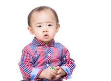 Asia baby boy holding toy block Stock Photography