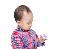 Asia baby boy holding wooden toy block Stock Photography