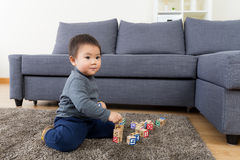 Asia baby boy play toy block Royalty Free Stock Images