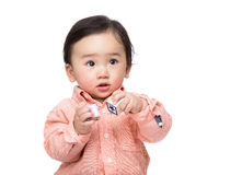 Asia baby boy play toy block Royalty Free Stock Image