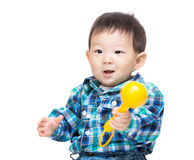 Asia baby boy play toy Royalty Free Stock Images