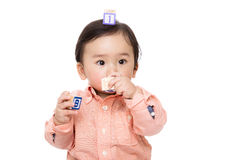 Asia baby boy play wooden block Stock Photo