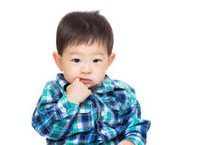 Asia baby boy suck finger into mouth Royalty Free Stock Photography