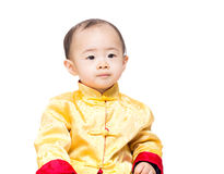 39aa7c3cd Asia baby boy with traditional chinese costume. Isolated on white royalty  free stock image
