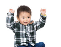 Asia baby boy two hand up Royalty Free Stock Images