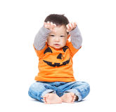 Asia Baby Boy With Halloween Dressing And Hands Up Stock Images