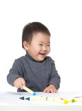 Asia baby enjoy drawing Royalty Free Stock Photos
