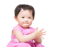 Asia baby girl clapping hand Royalty Free Stock Photos