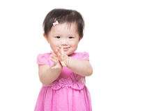 Asia baby girl clapping hand Stock Photo