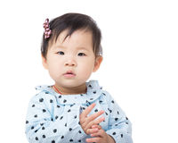 Asia baby girl clapping hand Royalty Free Stock Image