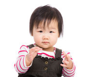 Asia baby girl clapping hand Stock Photos