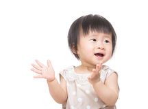 Asia baby girl excited to clap hand Royalty Free Stock Images