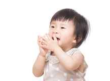 Asia baby girl feel so excited Stock Images