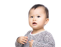 Asia baby girl feeling scary Royalty Free Stock Images