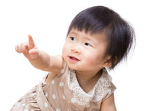 Asia baby girl finger pointing front Stock Photography