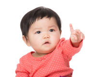 Asia baby girl finger pointing out Stock Photography
