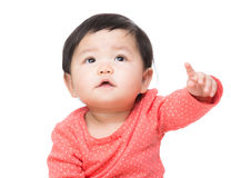 Asia baby girl finger pointing toward Stock Photography