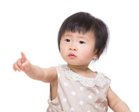 Asia baby girl finger want to touch something Royalty Free Stock Photography