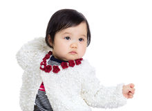 Asia baby girl with funny posture Royalty Free Stock Photo