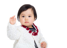 Asia baby girl greeting with hand up Stock Photography