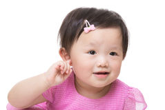 Asia baby girl hand touch her ear. Isolated on white stock photos