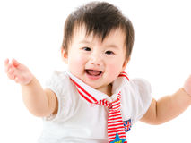 Asia baby girl hands up Royalty Free Stock Photos