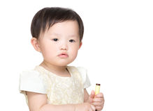 Asia baby girl holding color pen Royalty Free Stock Photos