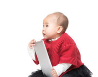 Asia baby girl holding tablet Royalty Free Stock Photo
