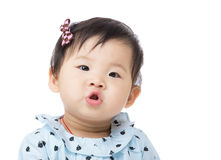 Asia baby girl kissing Stock Photo