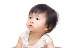 Asia baby girl looking another side Royalty Free Stock Photography
