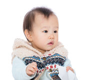 Asia baby girl looking aside Royalty Free Stock Photos