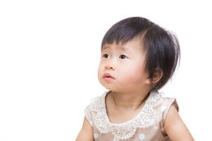 Asia baby girl looking at other side Royalty Free Stock Photography