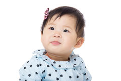 Asia baby girl looking upward. Isolated on white Royalty Free Stock Photos