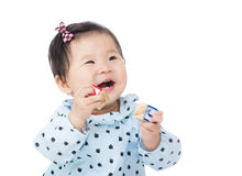 Asia baby girl play with toy block Stock Image
