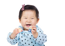 Asia baby girl play with toy block Stock Images